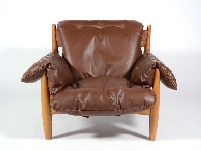 Italian Sergio Rodrigues Sheriff Lounge Chair and Ottoman For Sale