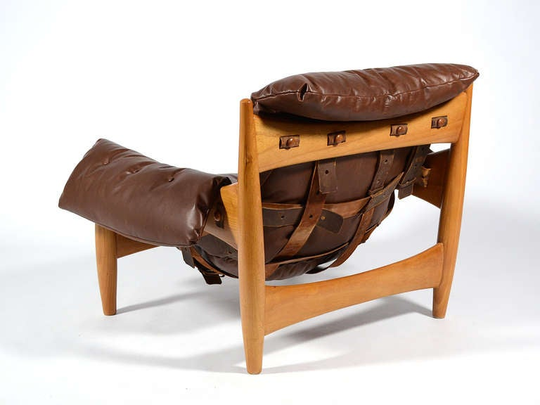 Sergio Rodrigues Sheriff Lounge Chair and Ottoman In Excellent Condition For Sale In Highland, IN