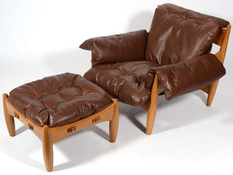 Leather Sergio Rodrigues Sheriff Lounge Chair and Ottoman For Sale