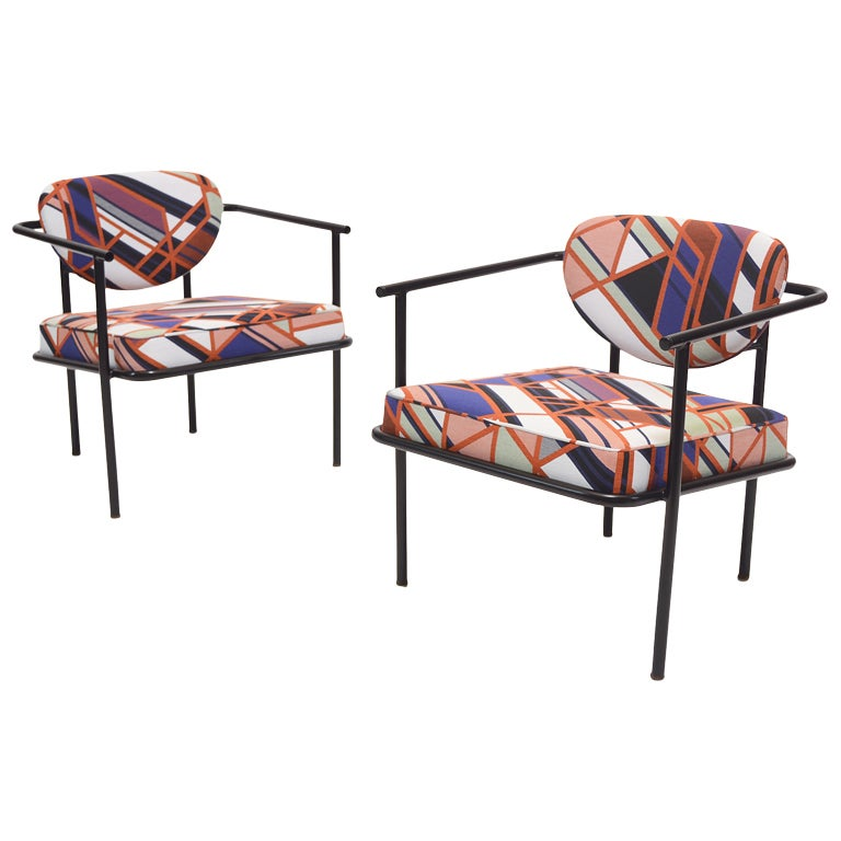 Metal framed lounge chairs upholstered in Maharam at 1stdibs