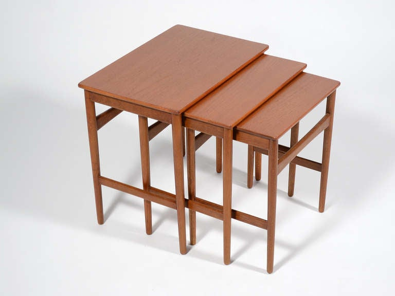 Scandinavian Modern Hans Wegner Nesting Tables by Andreas Tuck For Sale