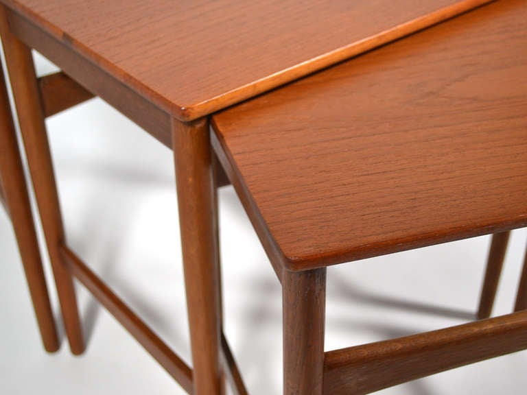 Teak Hans Wegner Nesting Tables by Andreas Tuck For Sale