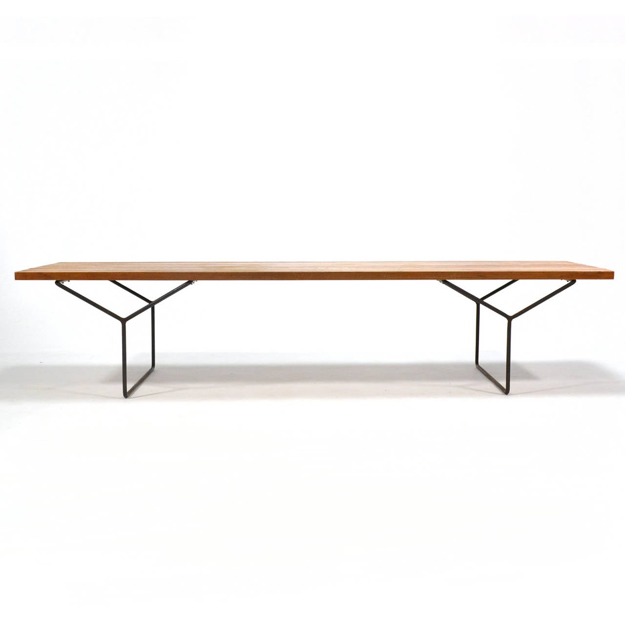 Early Harry Bertoia Slat Bench By Knoll At 1stdibs