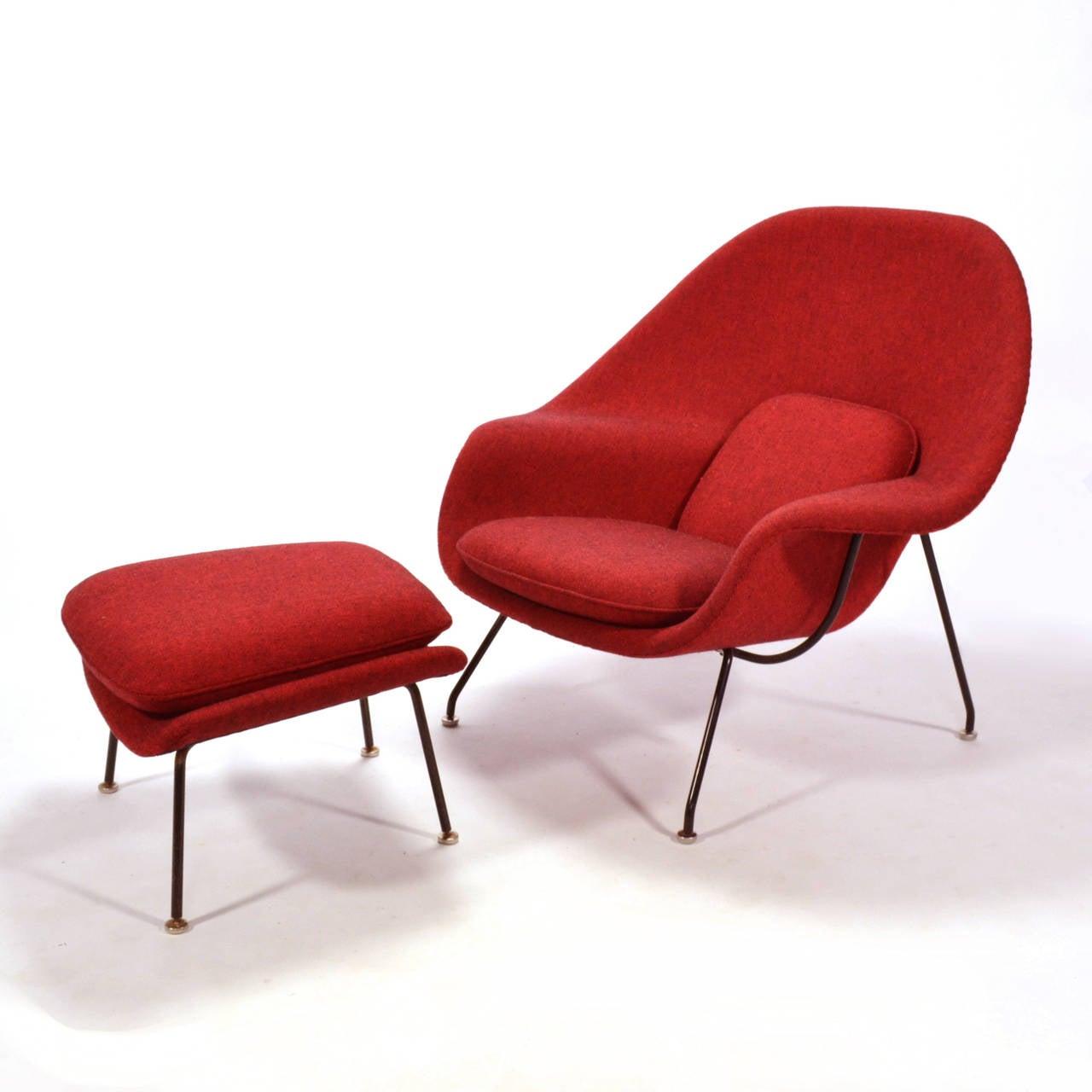 eero saarinen womb chair and ottoman upholstered in alexander  - eero saarinen womb chair and ottoman upholstered in alexander girard fabric