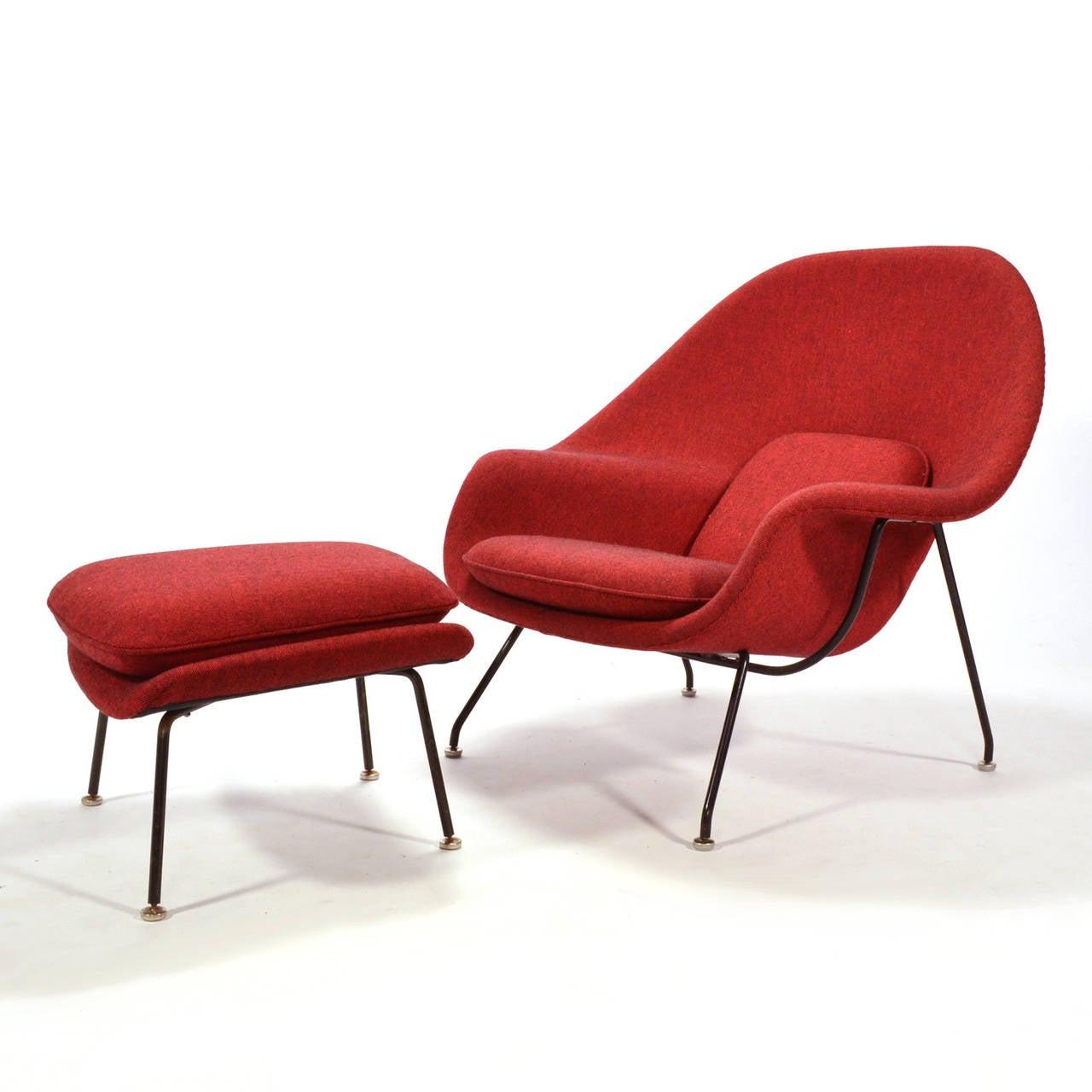 eero saarinen womb chair and ottoman upholstered in alexander girard