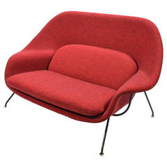 Eero Saarinen Womb Settee Upholstered in Alexander Girard Fabric