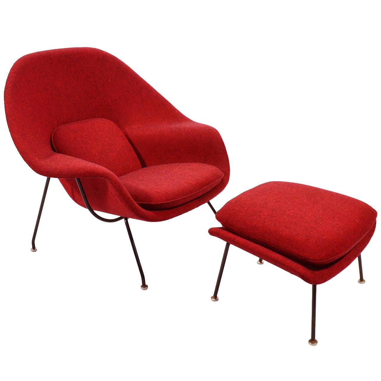Saarinen womb chair - Eero Saarinen Womb Chair And Ottoman Upholstered In Alexander Girard Fabric 1