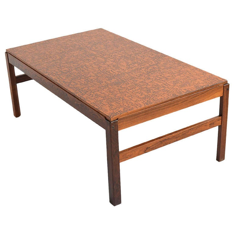 Danish Rosewood Coffee Table with Textured Copper Top at 1stdibs