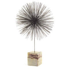 Jere dandelion burst sculpture with onyx base