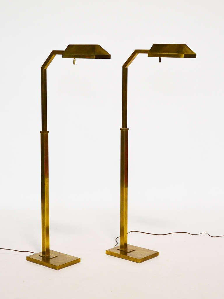 Pair Of Brass Chapman Adjustable Reading Lamps At 1stdibs