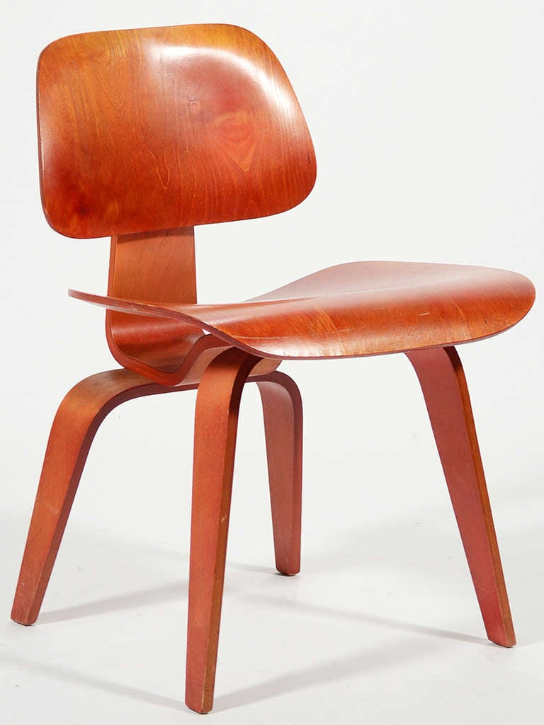 Vintage eames chairs - Eames Red Aniline Dcw By Herman Miller