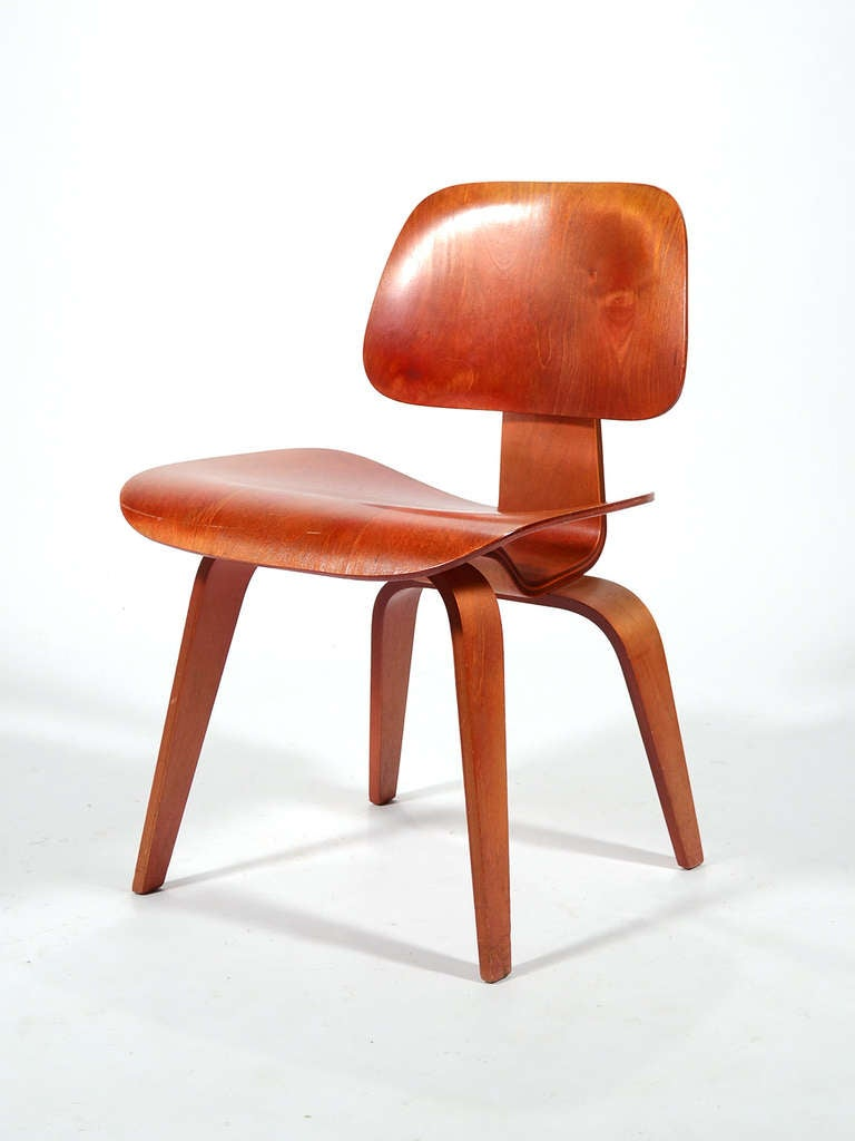 Bent plywood chair eames - Eames Red Aniline Dcw By Herman Miller 3