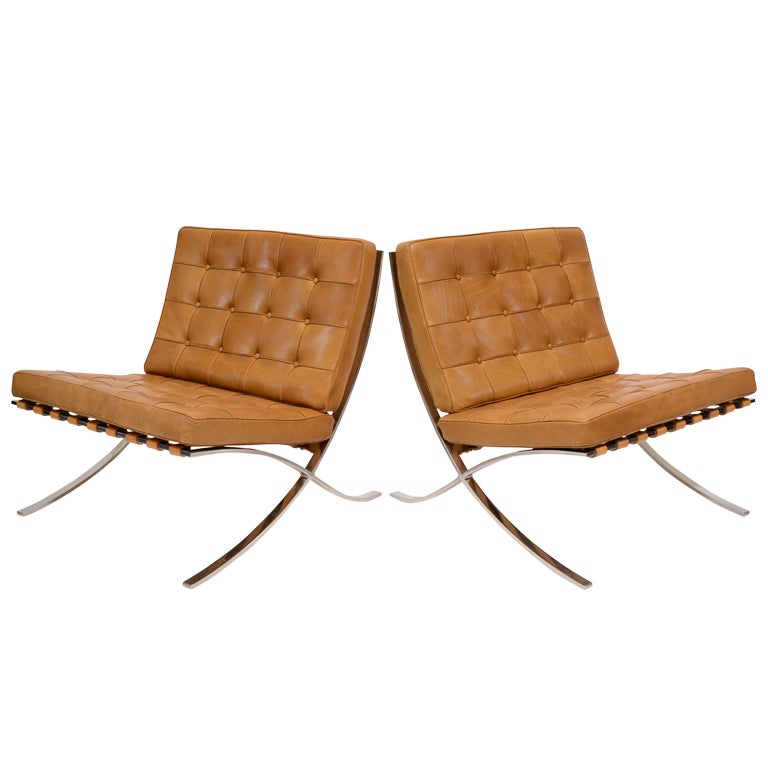 High Quality Pair Of Ludwig Mies Van Der Rohe Barcelona Chairs By Knoll For Sale