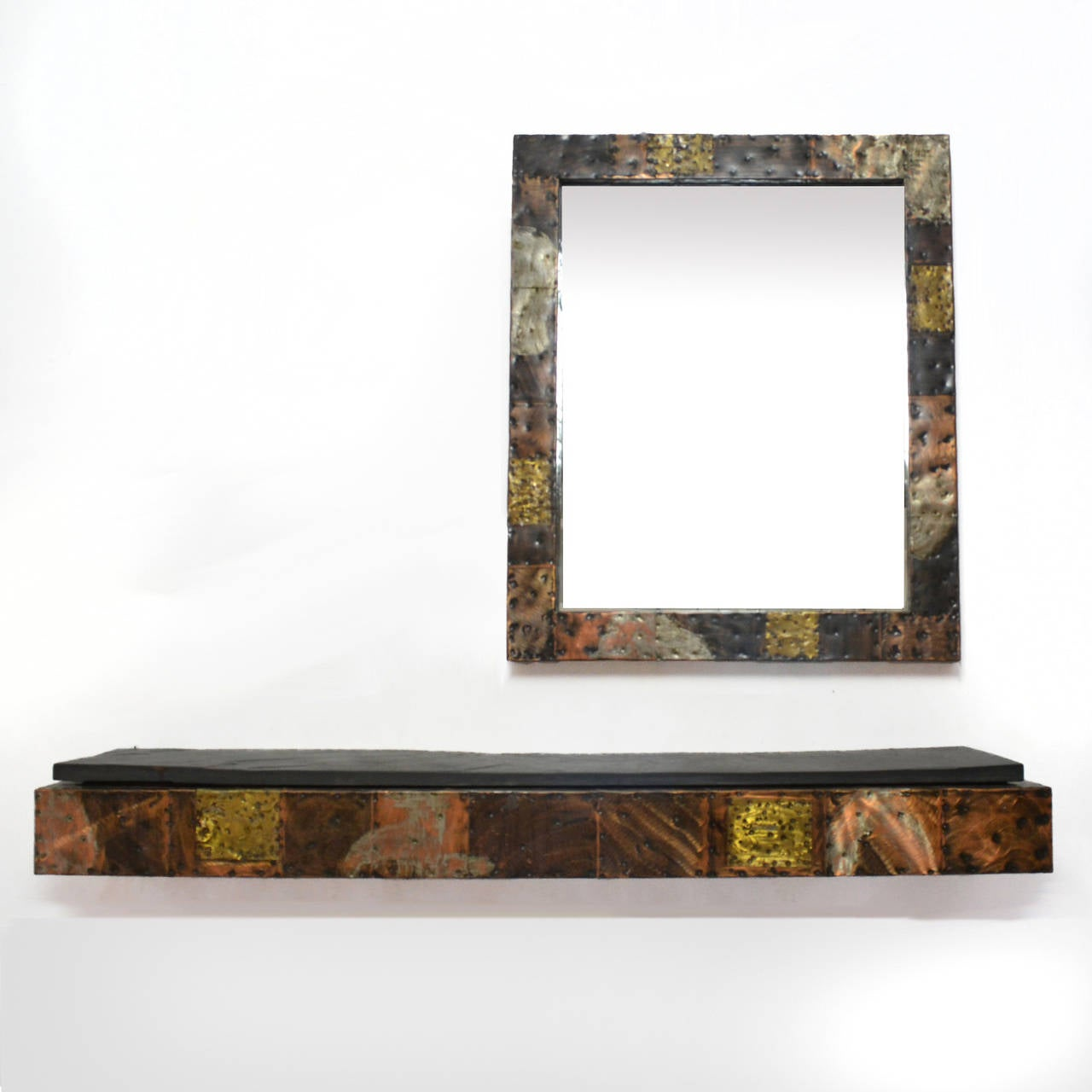 Paul Evans Patchwork Mirror and Wall-Mounted Console 3