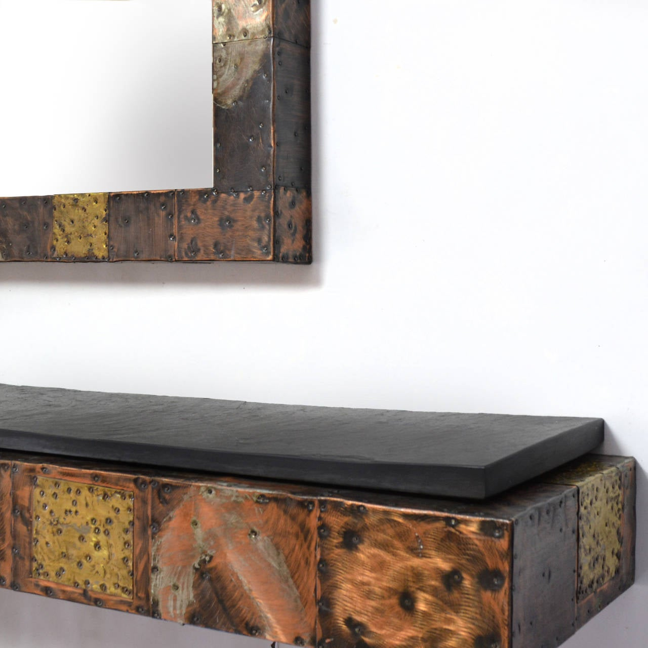Paul Evans Patchwork Mirror and Wall-Mounted Console 8