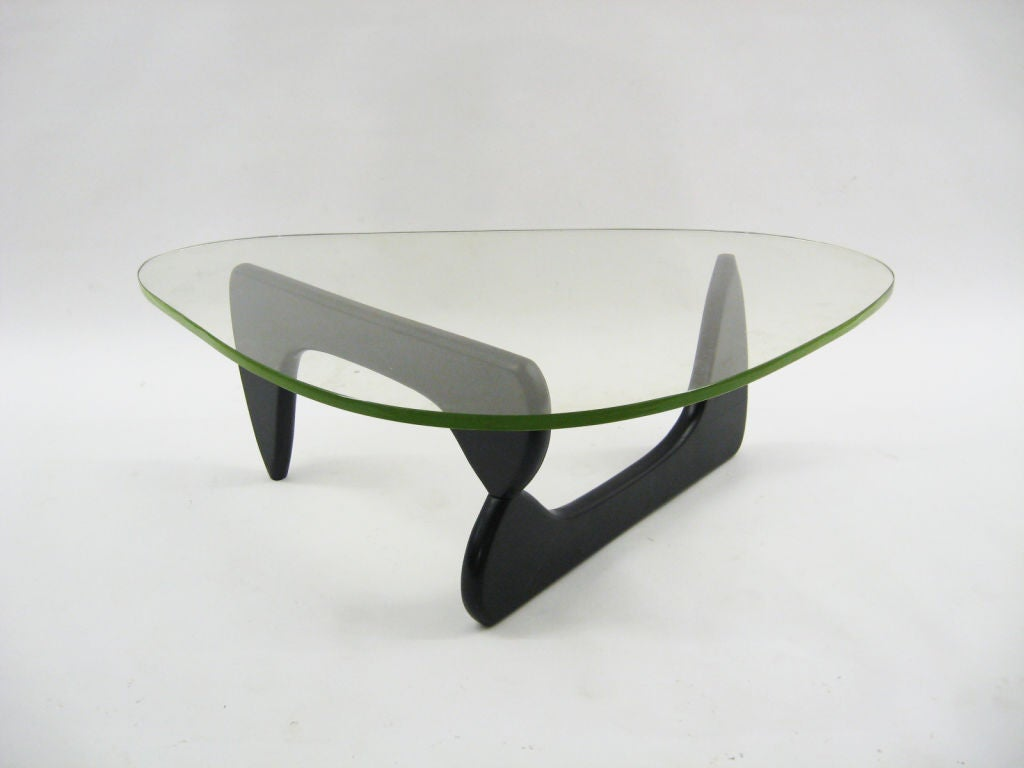 Early noguchi coffee table by herman miller w pale green glass at 1stdibs Herman miller noguchi coffee table