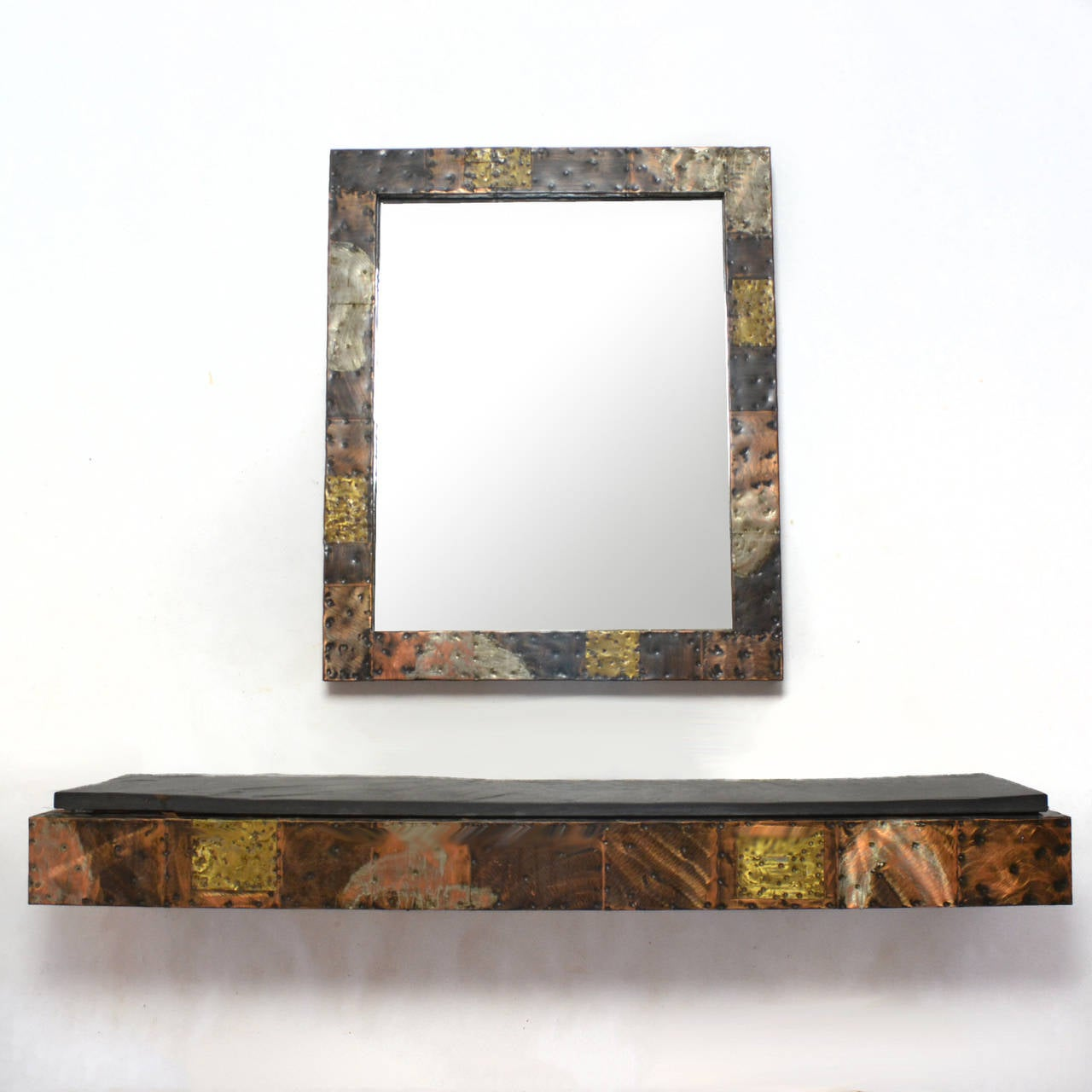 Paul Evans Patchwork Mirror and Wall-Mounted Console 10