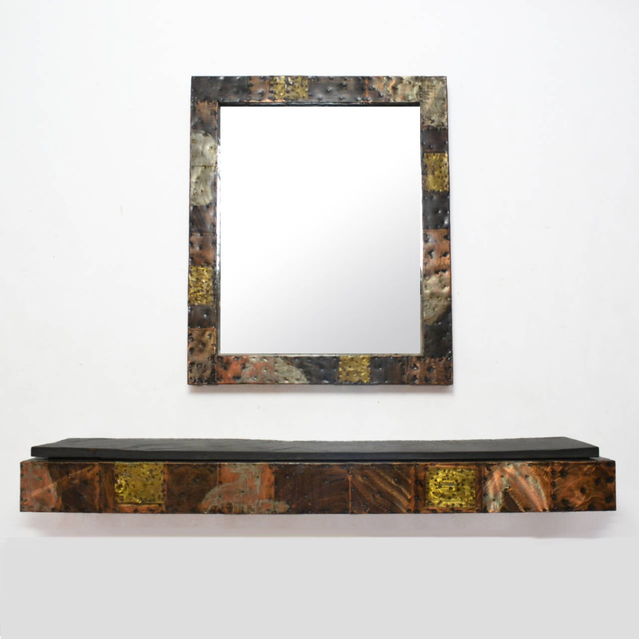 Paul Evans Patchwork Mirror and Wall-Mounted Console 2