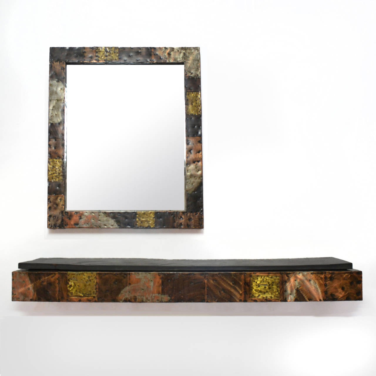 Paul Evans Patchwork Mirror and Wall-Mounted Console 4