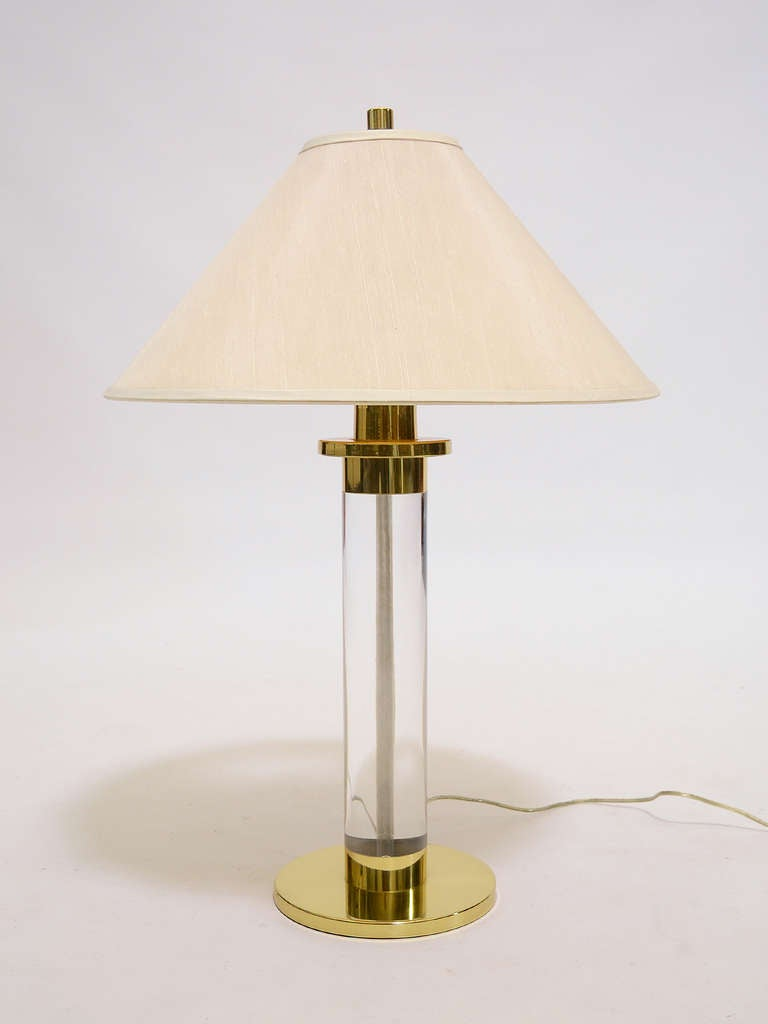 Lucite and Brass Table Lamp by Frederick Cooper For Sale 3