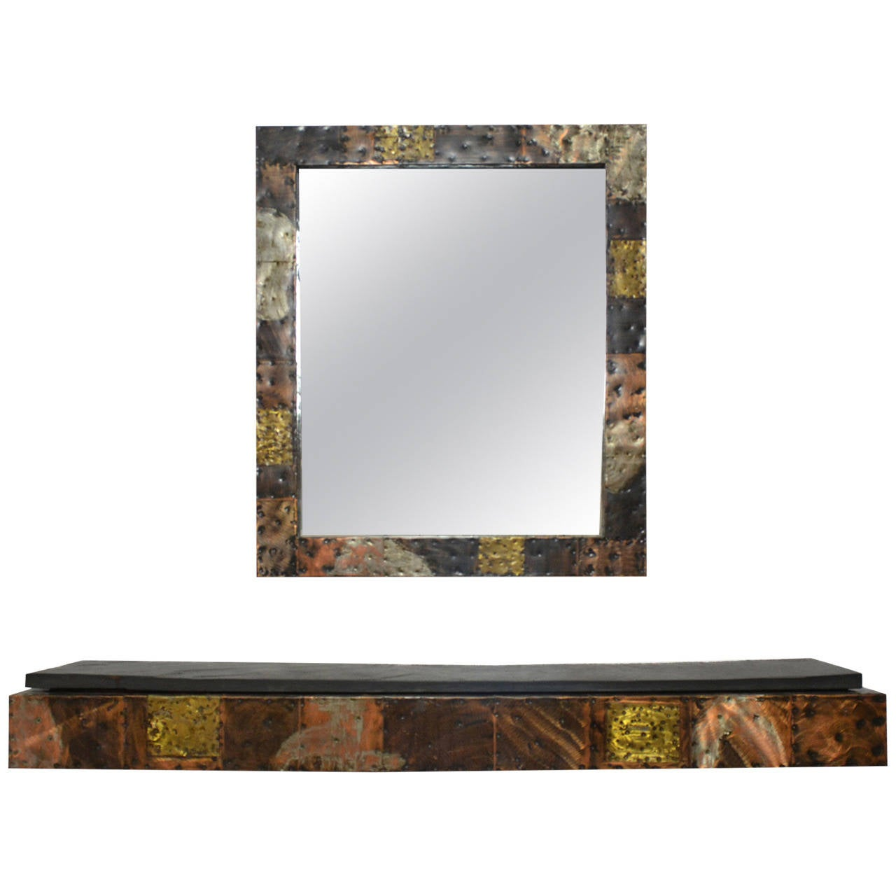 Paul Evans Patchwork Mirror and Wall-Mounted Console 1