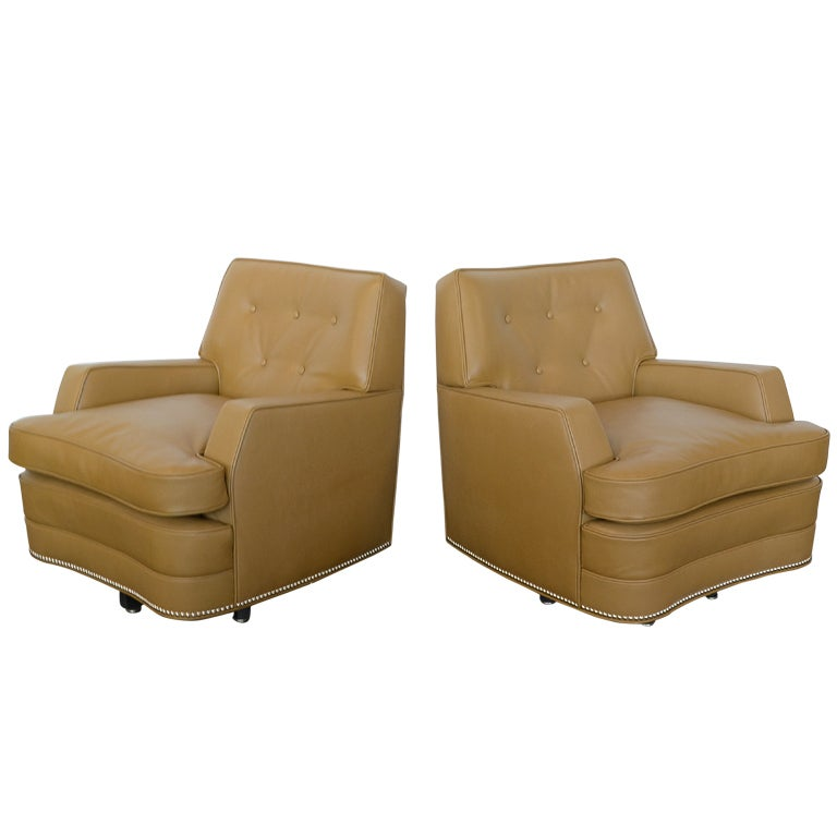 Pair Of Quot Far East Quot Swivel Club Chairs By Baker For Sale At