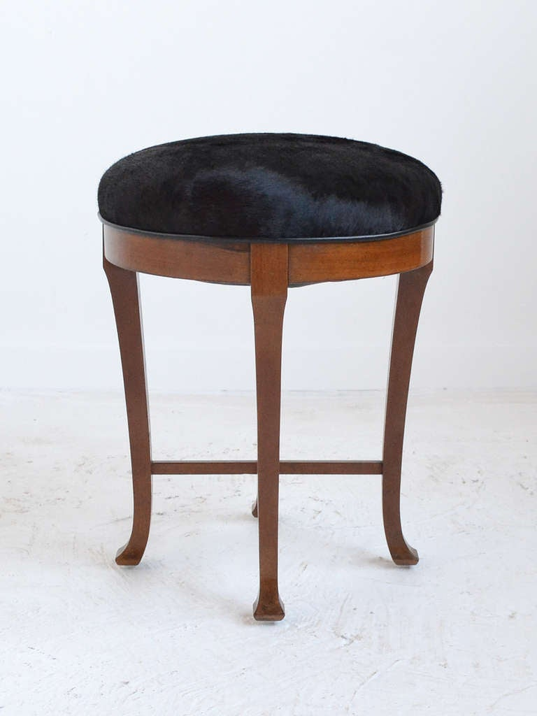 Danish Mahogany Stool Upholstered In Hairy Hide For Sale