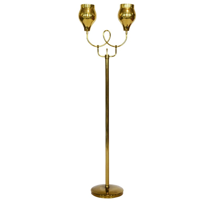 Paavo Tynell for Lightolier Brass Floor Lamp