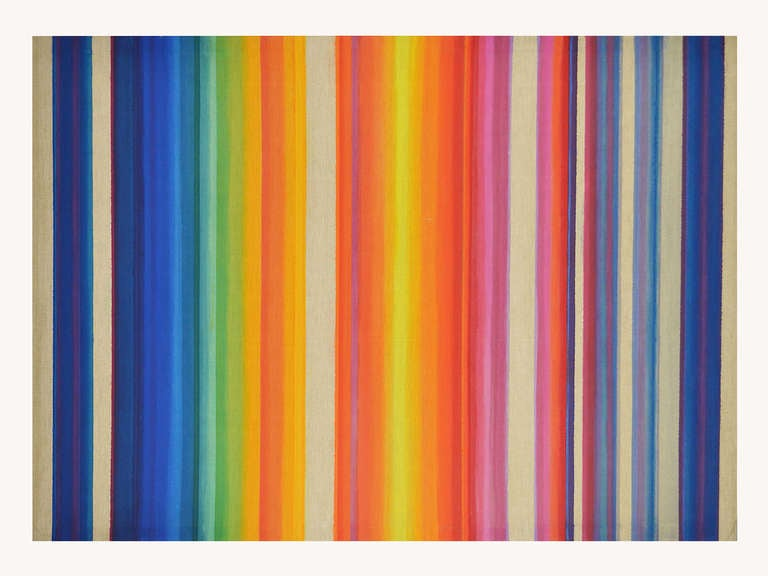 This very large and beautiful abstract painting by Chicago painter Maxine Wishnick (1918-2012) is executed in acrylic on unprimed Belgian linen. It dates from 1975 and can be hung vertically or horizontally, the double title suggesting different