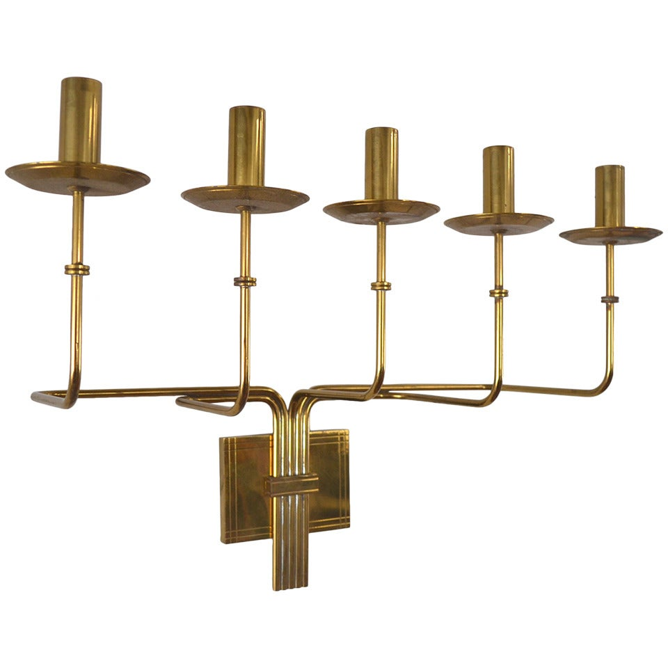 Tommi Parzinger Brass Five-Arm Candelabra Sconce by Dorlyn
