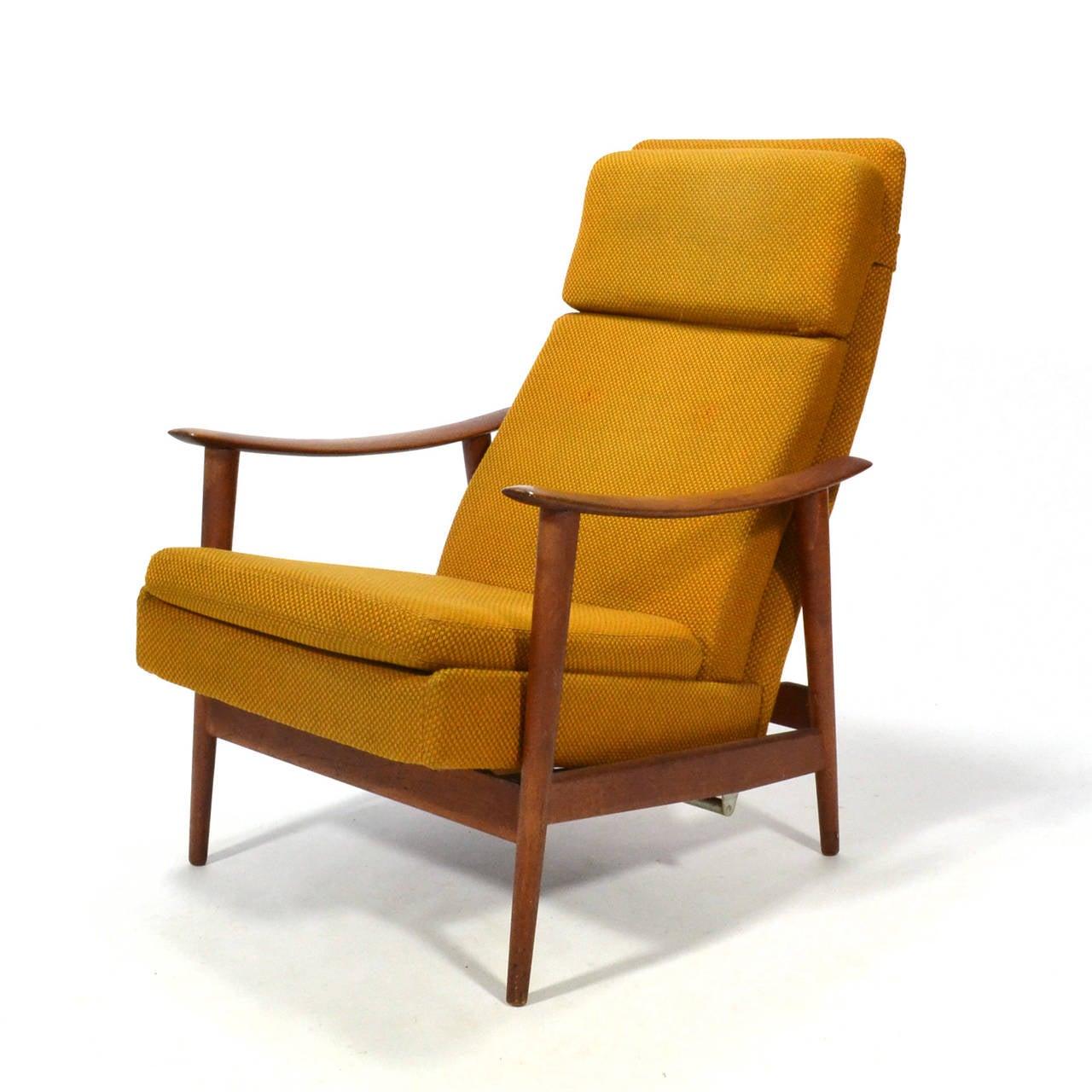 Danish Teak Reclining Lounge Chair at 1stdibs