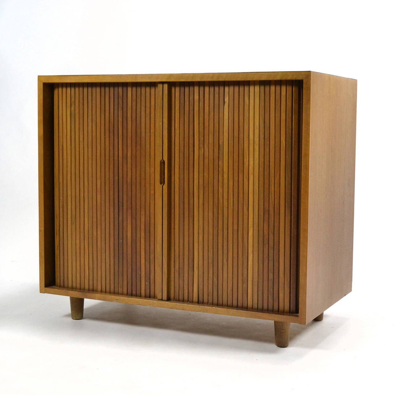 Walnut Milo Baughman Tambour Door Cabinet by Glenn of California For Sale