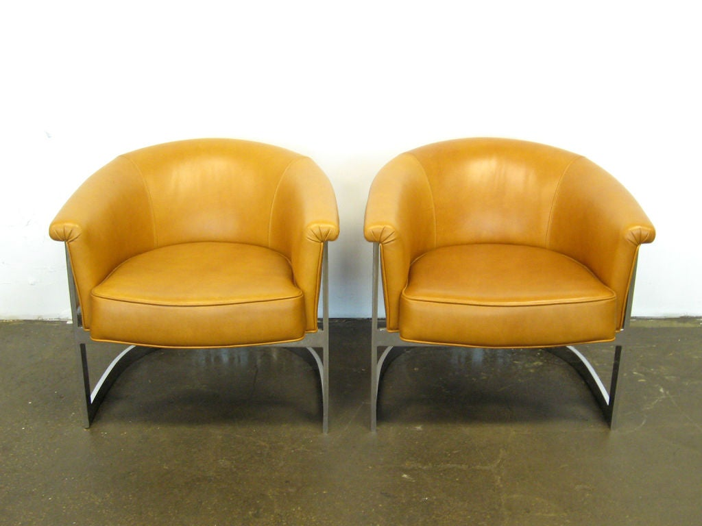 American Pair of Milo Baughman lounge chairs by Thayer Coggin