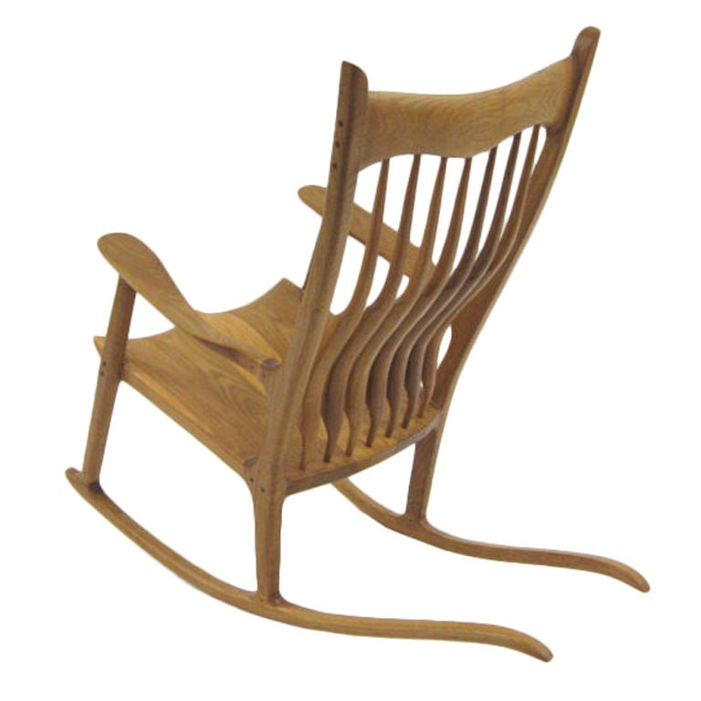 sam maloof style rocking chair in white oak for sale at 1stdibs. Black Bedroom Furniture Sets. Home Design Ideas
