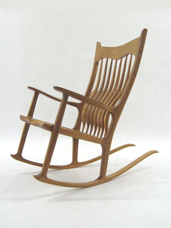 Sam Maloof Style Rocking Chair in White Oak For Sale at 1stdibs