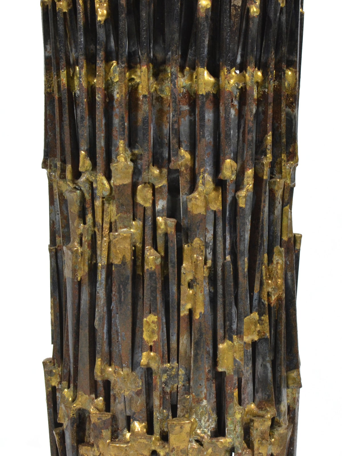 Mid-20th Century Abstract Brutalist Sculpture in Iron and Bronze For Sale