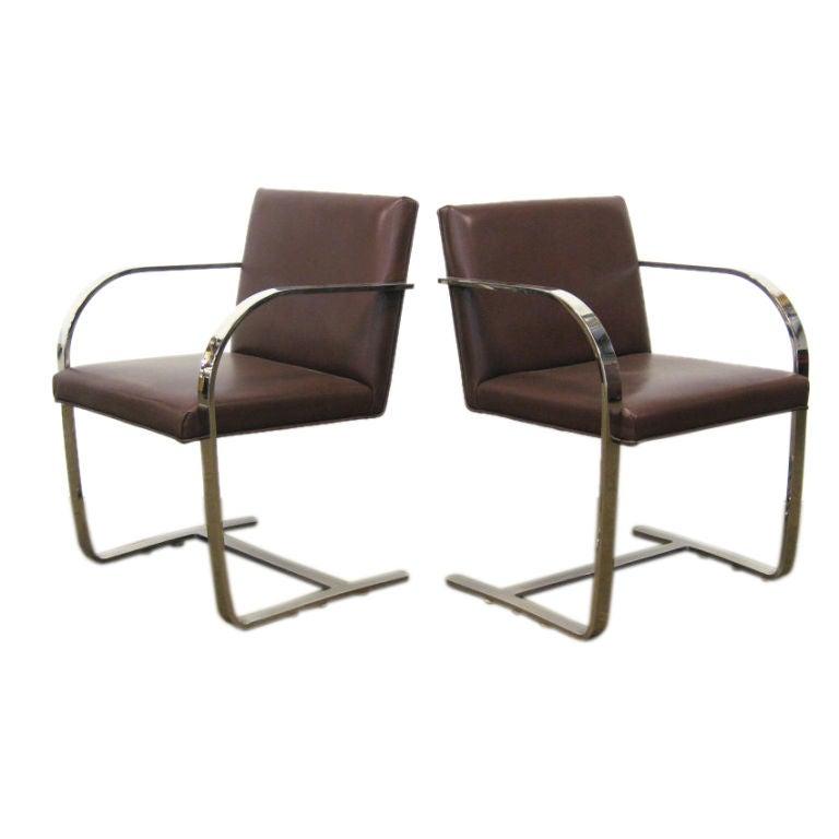 Ludwig mies van der rohe flat bar brno chairs by knoll
