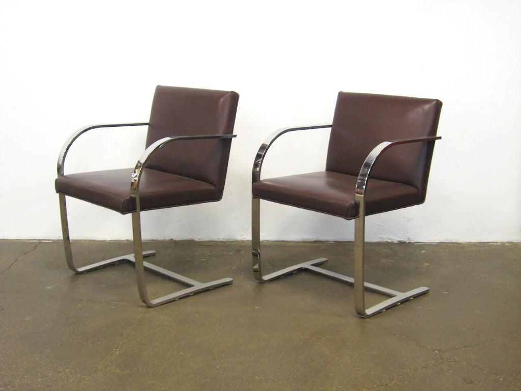 Ludwig mies van der rohe flat bar brno chairs by knoll at 1stdibs