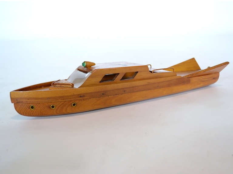 Great wooden model boat from the 1950s at 1stdibs