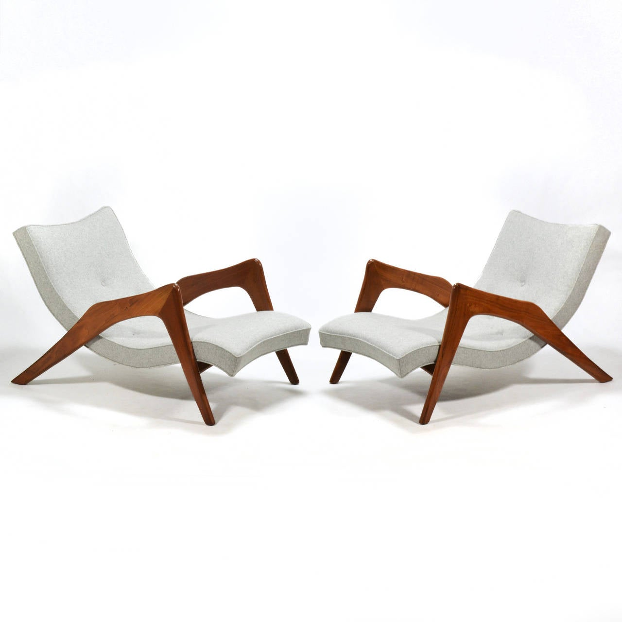 The long, leggy form of Adrian Pearsall's model 745-LB Crescent chair has also earned it the nickname