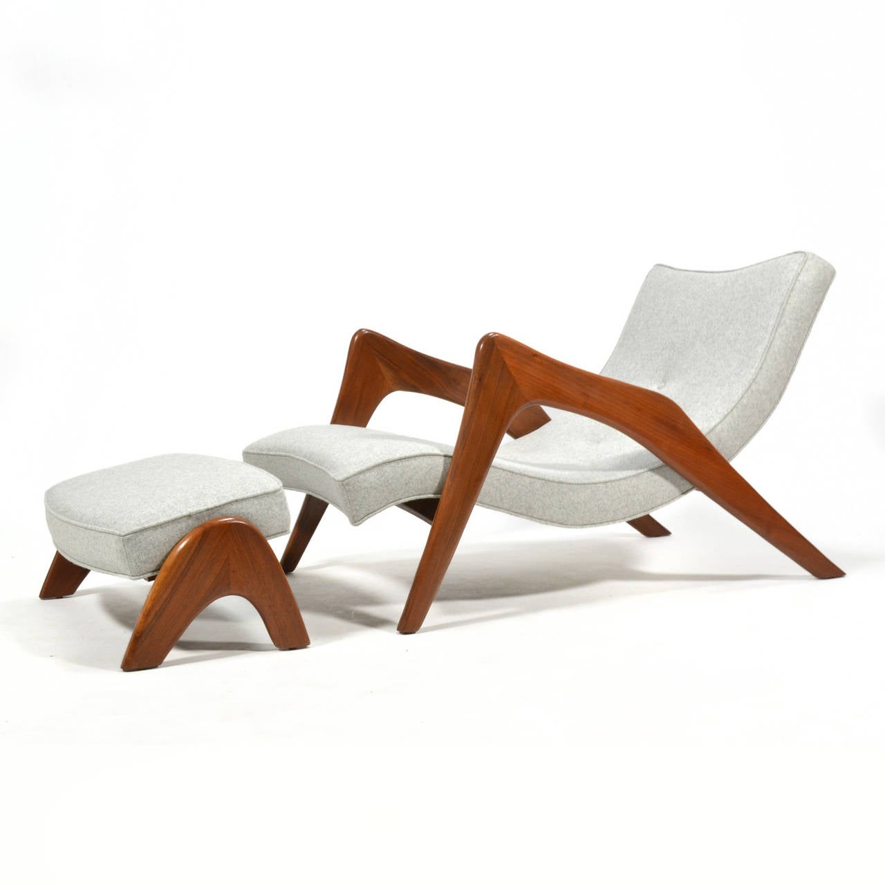 Mid-Century Modern Adrian Pearsall Pair of Crescent Lounge Chairs and Ottomans For Sale