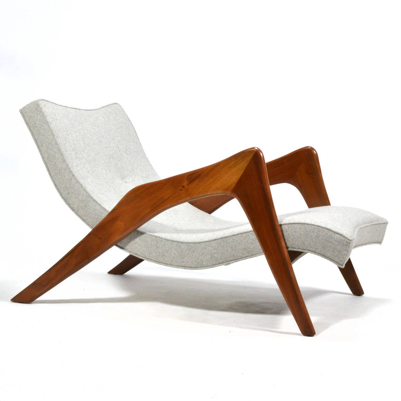 American Adrian Pearsall Pair of Crescent Lounge Chairs and Ottomans For Sale