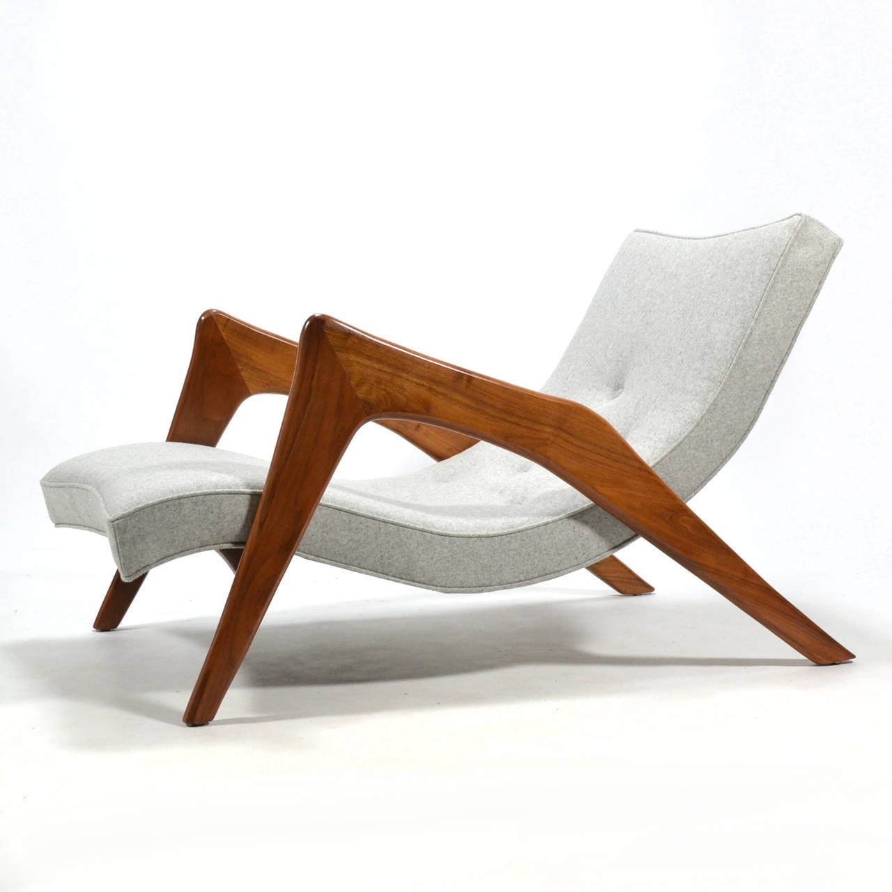 Mid-20th Century Adrian Pearsall Pair of Crescent Lounge Chairs and Ottomans For Sale