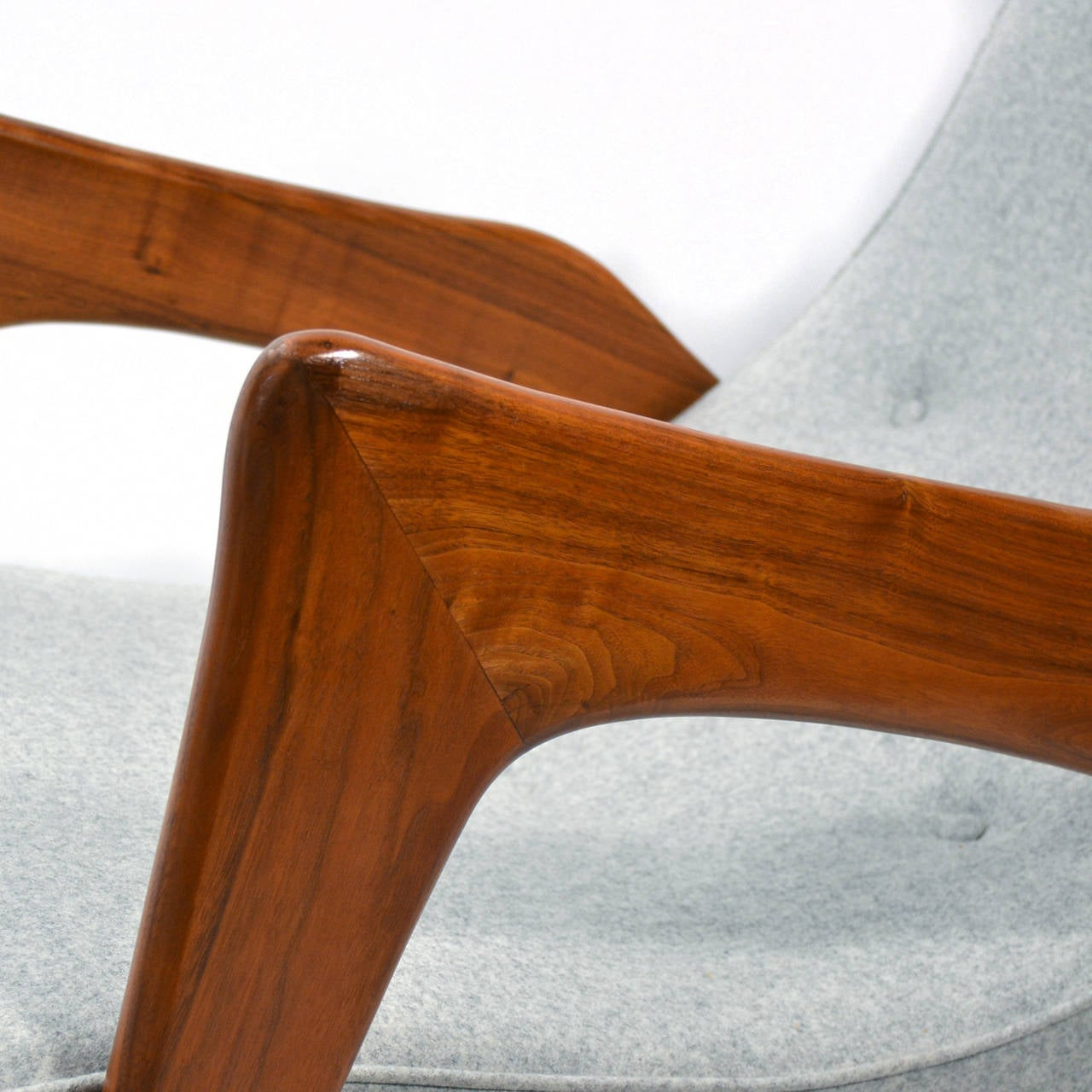 Upholstery Adrian Pearsall Pair of Crescent Lounge Chairs and Ottomans For Sale