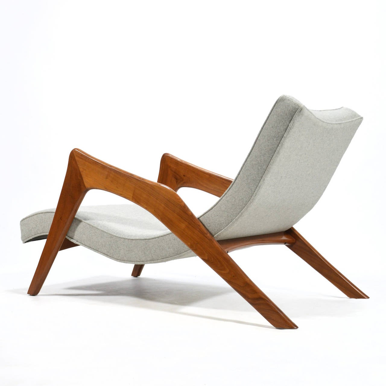 Adrian Pearsall Pair of Crescent Lounge Chairs and Ottomans For Sale 2