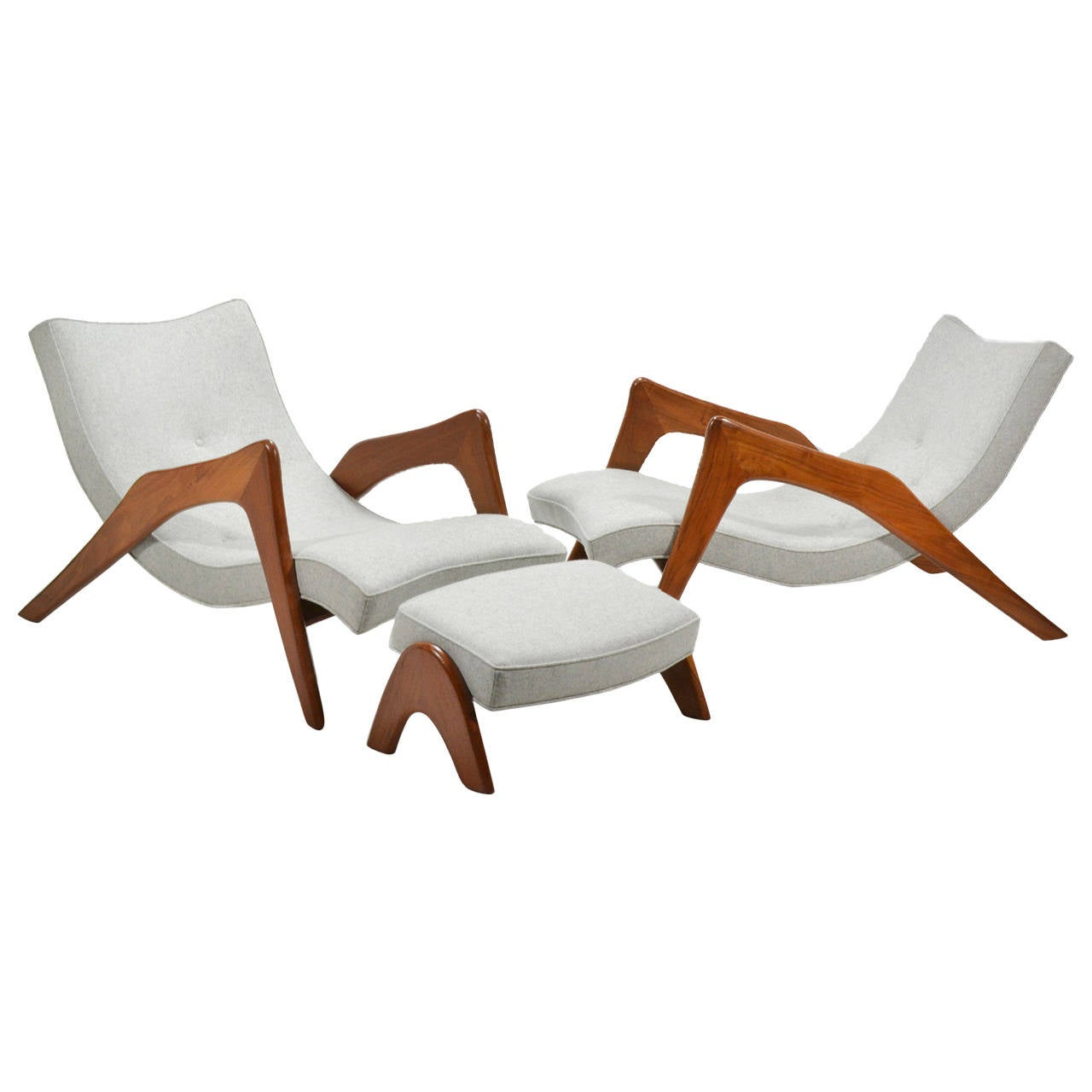 Adrian Pearsall Pair of Crescent Lounge Chairs and Ottomans For Sale