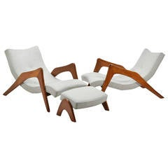 Adrian Pearsall Pair of Grasshopper Lounge Chairs and Ottoman
