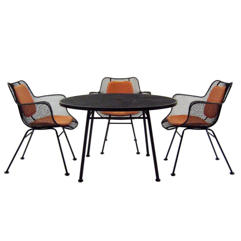 Vintage mid century modern metal folding wire mesh patio chairs - Russell Woodard Sculptura Table And Armchair Set In Mint