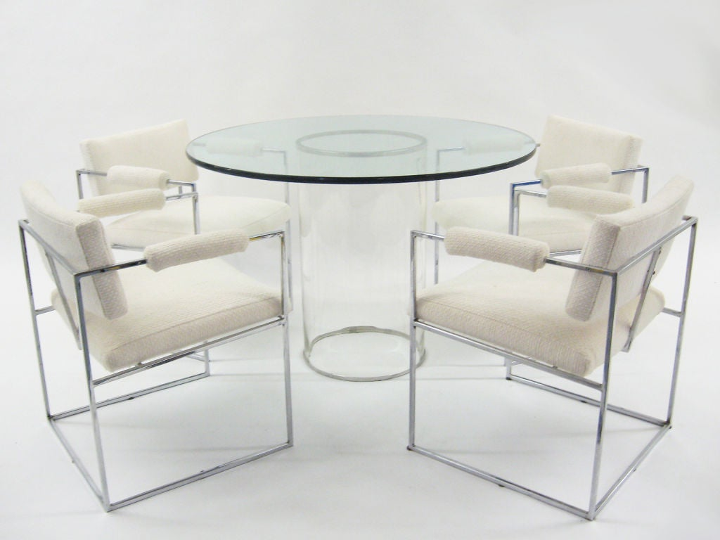 Minimalist all glass dining table at 1stdibs for All glass dining room table