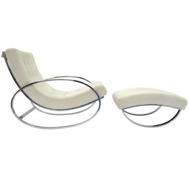 Italian chrome rocking chair  in the manner of Milo Baughman
